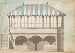 Colored elevations of three sides of Mr. Hunter's House at Gubbins, or Gobions, in the parish of North Mims, formerly the property of Sir Thomas Moore 64.c